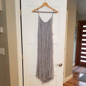 FREE PEOPLE GRAY BLUE LACE INSET MAXI DRESS